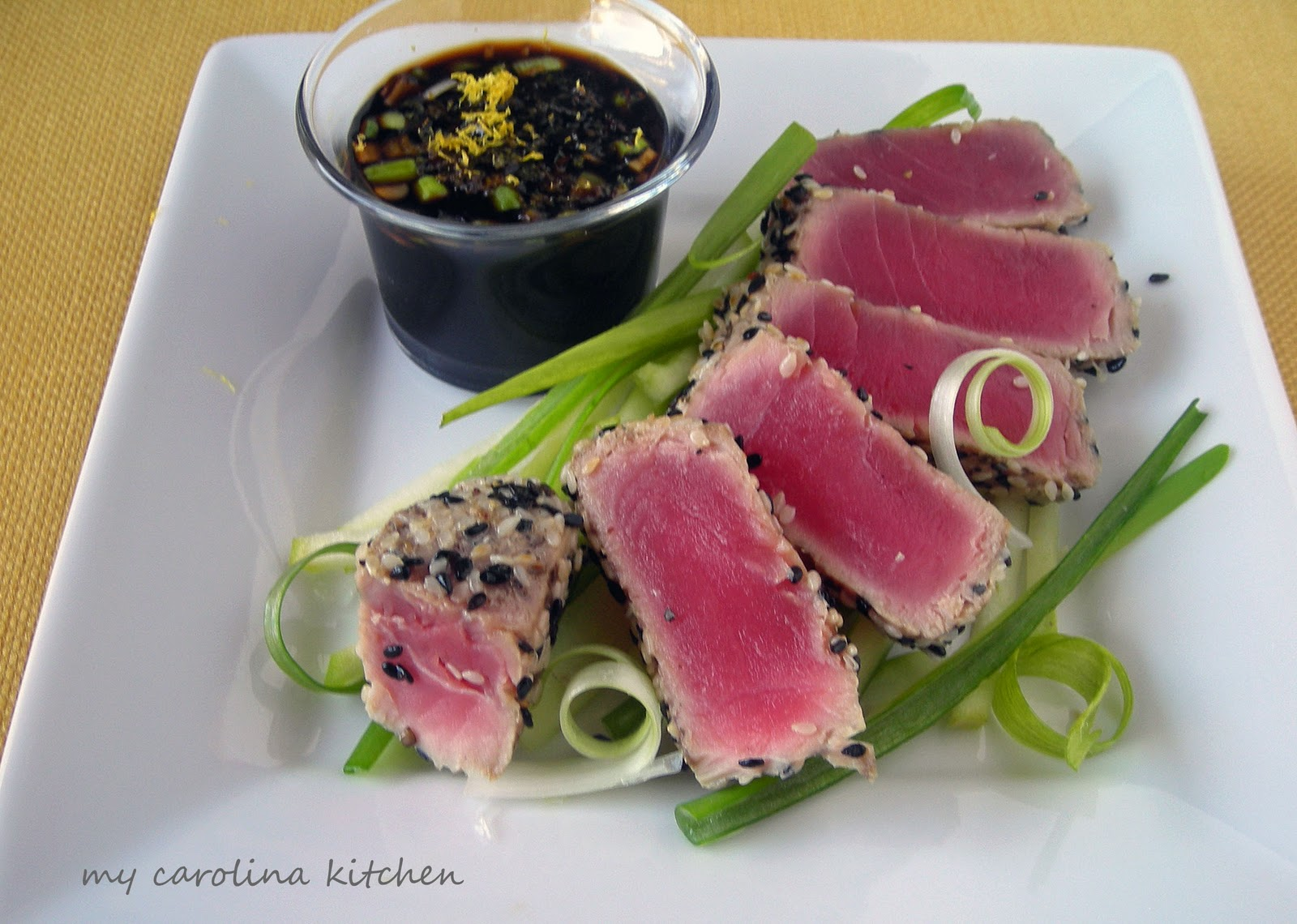 Seared Ahi Tuna Sauce Seared tuna with ponzu dipping