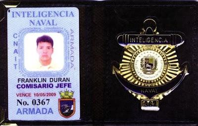 franklin dur225n ten237a credencial de comisario jefe de la