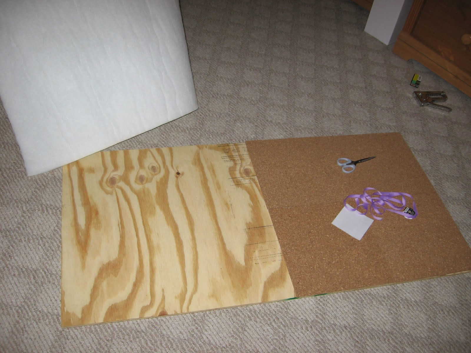 crowley party of make your own memo board cork board i placed the cork down and then cut the stuffing to fit in the open spot if you are going to make this do not stick the cork down yet