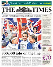 The Murdoch LONDON Times 18 August 2008  front page 300,000 jobs on the line!