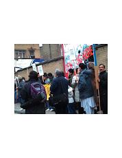 Khoodeelaar! No to Crossrail hole, CAMPAIGN Greeting the PEERS in Hanbury St., Feb 2008