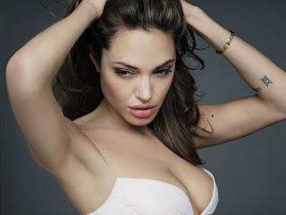 Sexy Anjelina Jolie Hiding Her Nude Body behind Satin Sheet