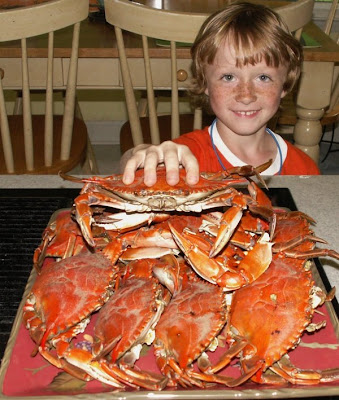 boy with crabs