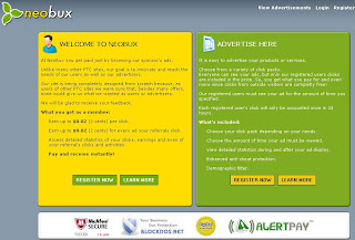 Screenshot of Neobux Homepage