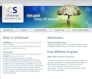 Screenshot of Clixsense Homepage
