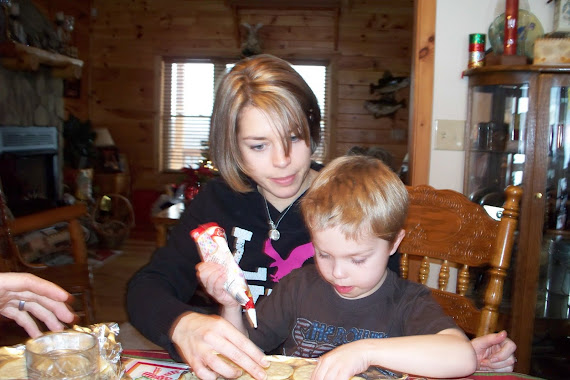 Jessica and Kaden making cookies