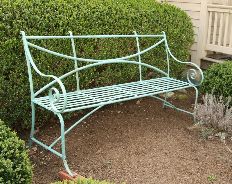 Growing with plants garden bench round up Wrought iron outdoor bench