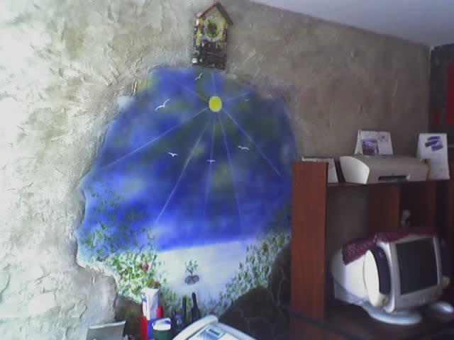 muro rustico y paisaje en aerosol en muro studio