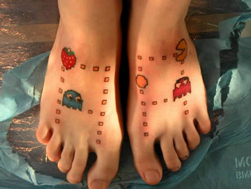 Airbrush Tattoo Video 6 (Set) I like feet tattoos and I like Pacman.