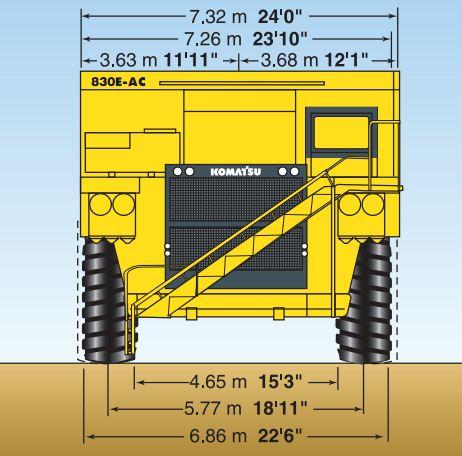 HAULPAK 830E AC KOMATSU SPECIFICATION DIMENSION