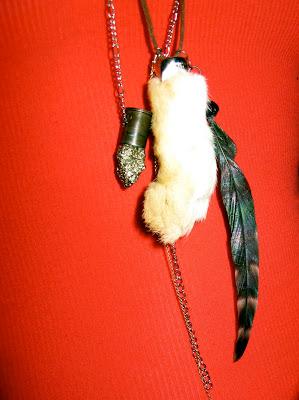 rabbits foot necklace handmade