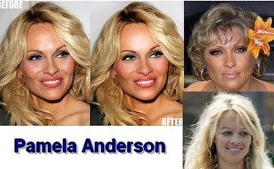 funny celebrities pictures pamela anderson before and after