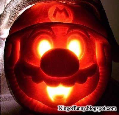 Funny Pumpkin Carving Super Mario