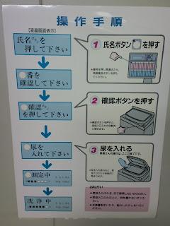 写真: 自動尿量測定装置の操作手順を示す、壁の張り紙