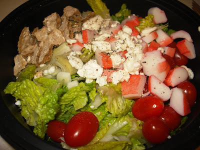 The last of my romaine lettuce, grape tomatoes, imitation crab meat, onions,
