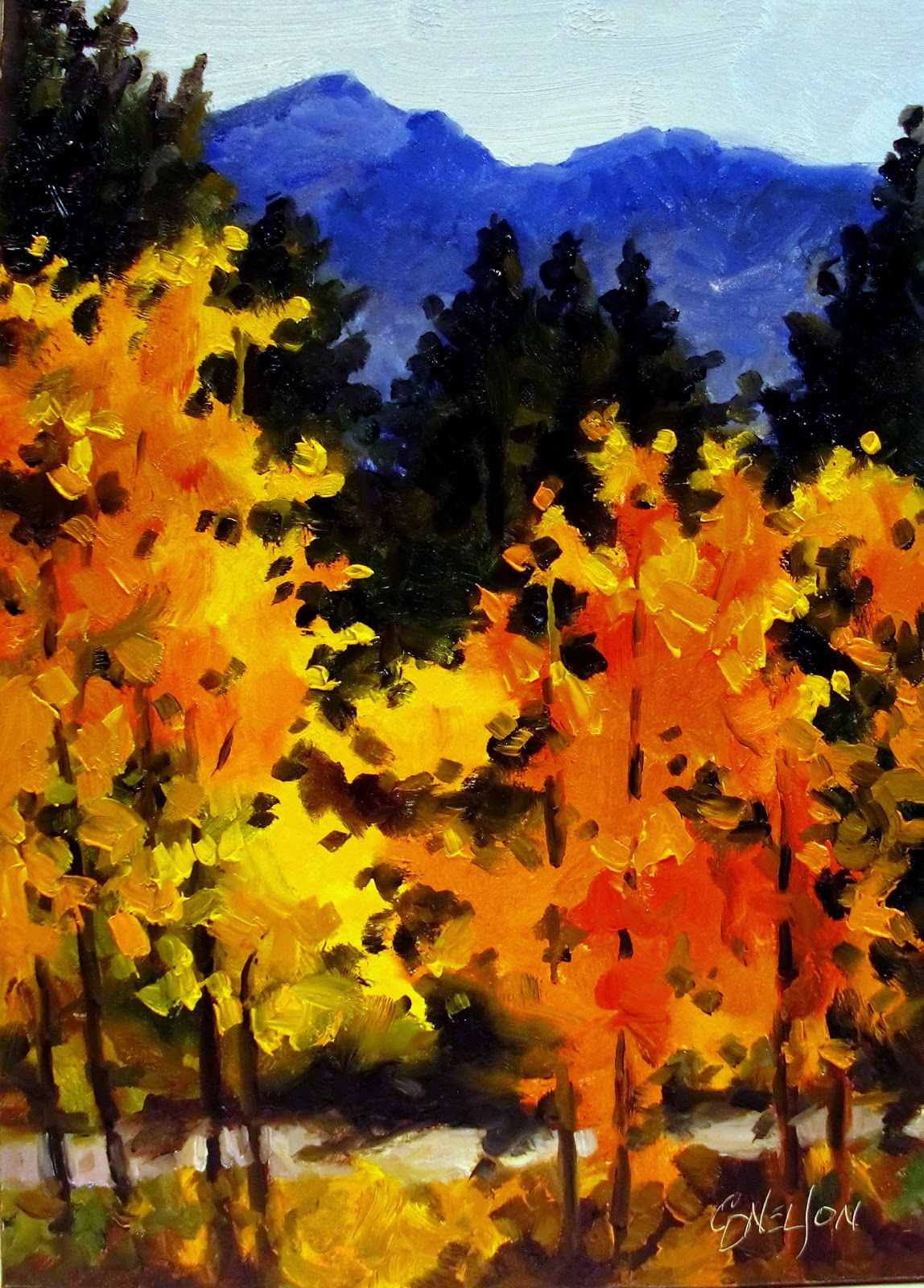 Daily painters abstract gallery fall in colorado 10142 for Fall pictures to paint