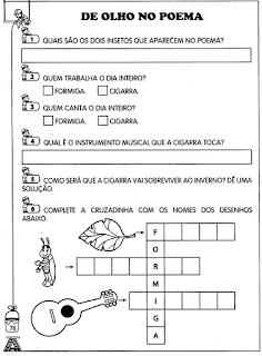 71 OFICINA DE POEMAS A FORMIGA E A CIGARRA para crianças