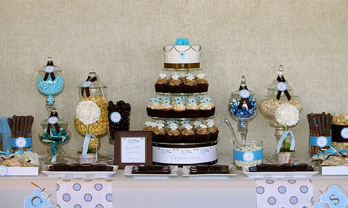 Twin S Brown Blue Baby Shower The Couture Cakery