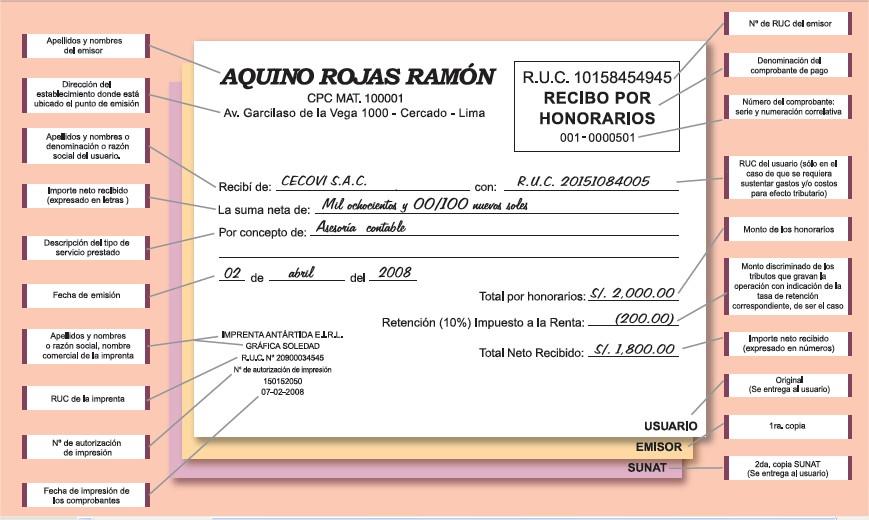 los requisitos establecidos en el reglamento de comprobantes de pago