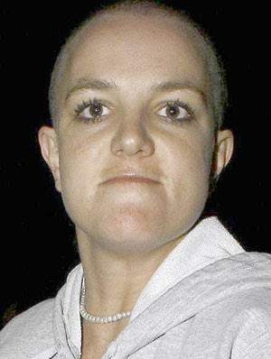 Bald britney head her shaved spear