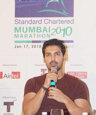 John Abraham Standard Chartered Mumbai Marathon 2010 Photos