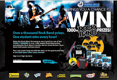 General Mills Rock Band Giveaway, www.PlayToRock.com sweepstakes