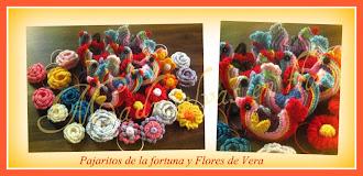 Pajaritos de la fortuna y flores de Vera
