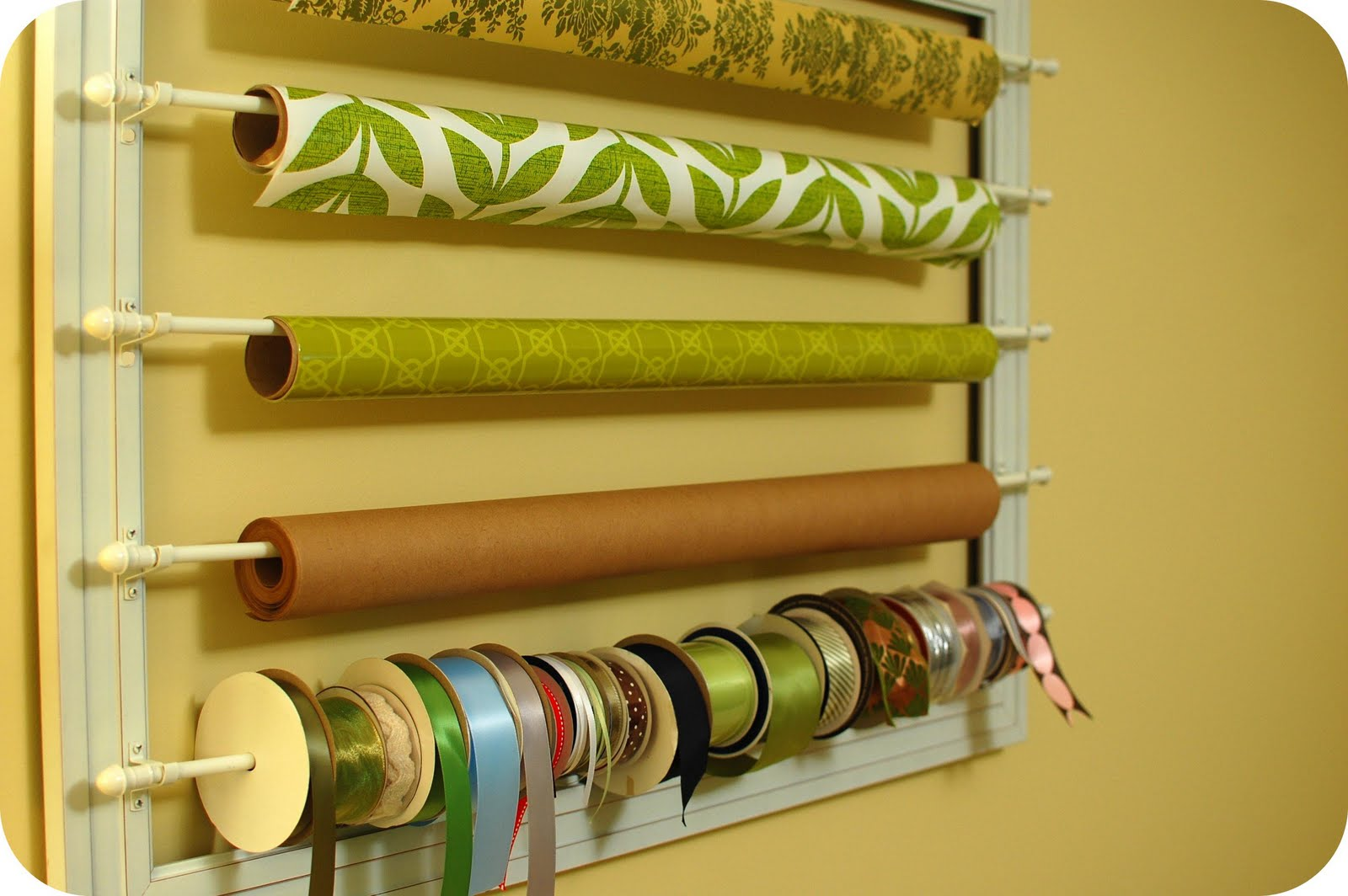 Diy Craft List Wrapping Paper And Ribbon Wall Rack