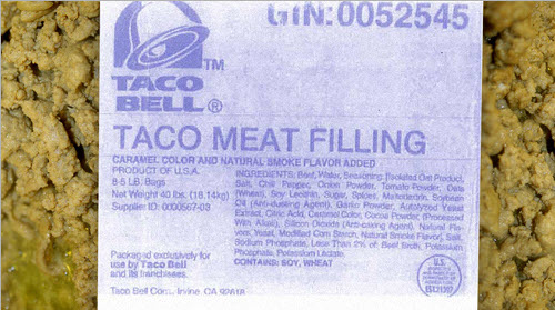 IMAGE(http://4.bp.blogspot.com/_pgKZWAoLjrw/TT-sabkELeI/AAAAAAAAMH4/fDIJ-frjcgM/s1600/taco%2Bbell%2Bmeat%2Bingredients.jpg)