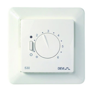 Devireg 530 Thermostat with floor sensor, flush mounted