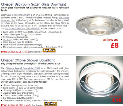 Cheaper Glass Shower Downlights, high IP rated Glass Bathroom Lights at a reduced price