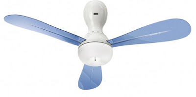 The Nemo Frizzi Fan with light - white body with blue fan blades