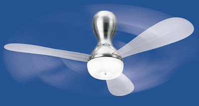 The Nemo Frizzi Ceiling Fan with light - chrome body and white fan blades