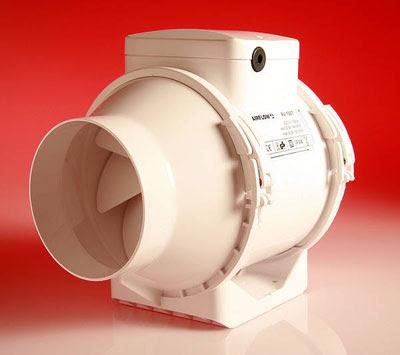Airflow 4inch In-line fan - the Aventa AV100 mixed flow extractor fan - Airflow 9041085