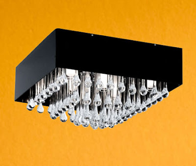Camini 88201 Ceiling Lamp - Camini Flush Square ceiling light in black with chrome and crystal drops