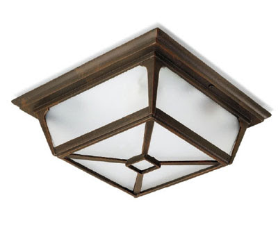 The LX180 Irene Outdoor Ceiling Light, Flush Square Fixture, IP44 Bronze fitting