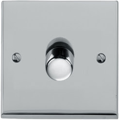 Heritage Brass LP1.871 - The Richmond Elite low profile 1 Gang 2 Way 400W Push On/Off Dimmer