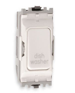 The K4896DWWHI - a MK Grid 20A DP Switch marked Dish Washer, double pole white dish washer switch