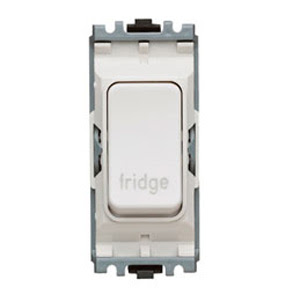 The K4896FGWHI - a MK Grid 20A DP Switch, marked Fridge, double pole white fridge switch