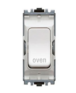 The K4896OVWHI - a MK Grid 20A DP Switch marked Oven, double pole white oven switch