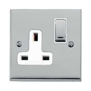The Heritage Brass R02.850PCW - Victorian Elite Double Switched Socket in Polished Chrome