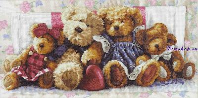 Вышивка, Вышивка крестом, Тедди,  Вышитые картины