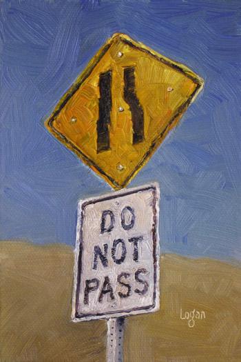 raymond logans latest work agua dulce do not pass sign