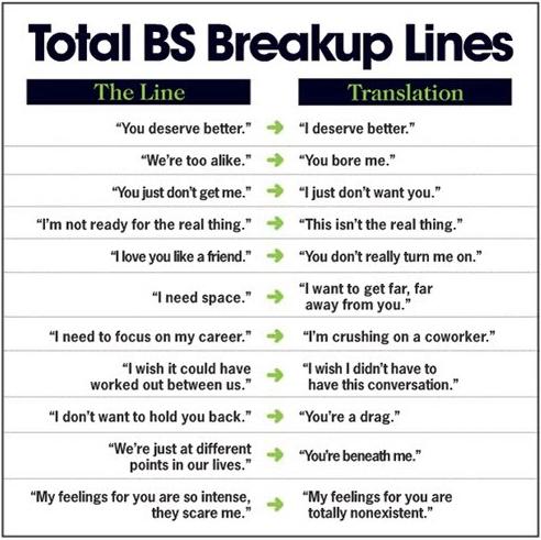 funny break up lines. BS reakup lines