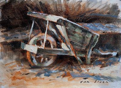 wheelbarrow oilpainting limited palette kruiwagen