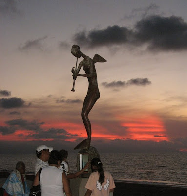 Puerto Vallarta Mermaid Sunset Malecon