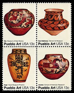 Ford Ruthling US postage stamps pueblo pottery