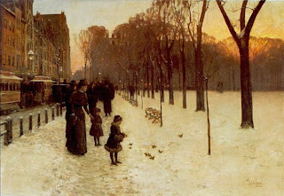 Painting by Childe Hassam, Boston Common at Twilight