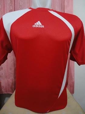 Kaos futsal adidas merah lis putih