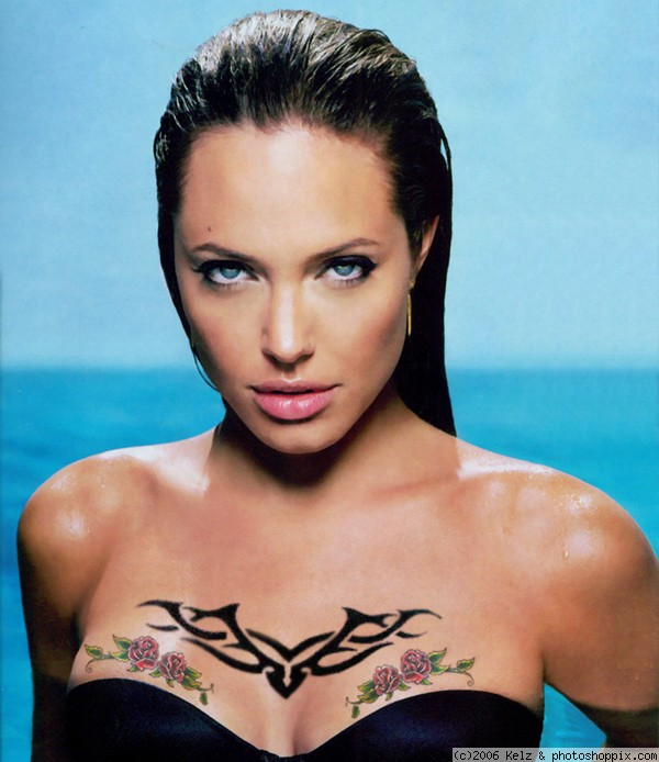 Model Noot Seear Angelina Jolie's Hot Tribal Tattoo Design